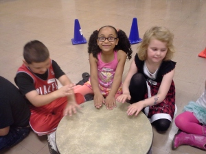 Students experience beat in small groups